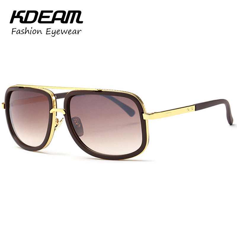 KDEAM 2016 Fashion Square Sunglasses Men Metal Frame Reflective Coating Brand Designer Women Sun Glasses Oculos De Sol With Box