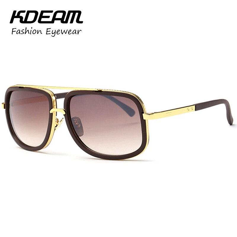 KDEAM 2016 Fashion Square Sunglasses Men Metal Frame Reflective Coating Brand Designer Women Sun Glasses Oculos De Sol With Box