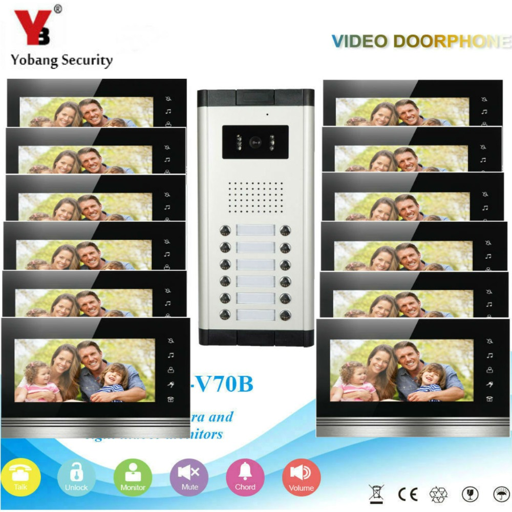 YobangSecurity 12 Apartment Wire Video Door Phone Intercom System 7Inch Monitor IR Camera Video Intercom DoorPhone Doorbell Kit yobangsecurity 7 inch wire video door phone doorbell intercom system waterproof outdoor camera with raincover intercom system
