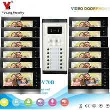 YobangSecurity 12 Apartment Wire Video Door Phone Intercom System 7″Inch Monitor IR Camera Video Intercom DoorPhone Doorbell Kit