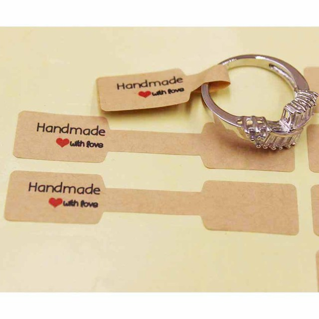 200pcs Paper Kraft/white Folded Ring Price/size Labels