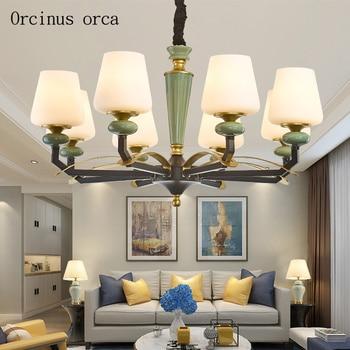 Americano retrò luce lusso lampadario A bracci del LED soggiorno camera da letto ristorante moderno e minimalista verde lampada a sospensione in ceramica
