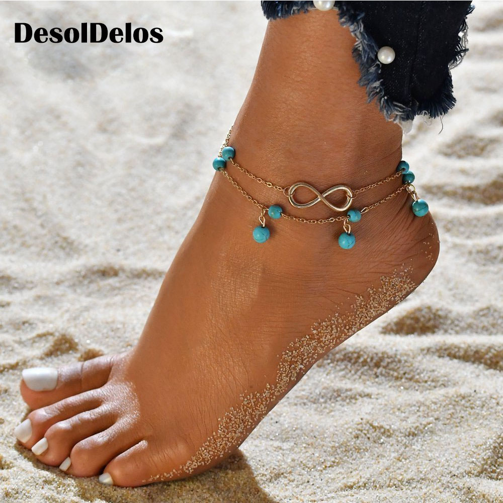New Double Infinite Beads Pendant Anklet Foot Chain For Woman Summer Bracelet Charm 2 Color Anklets Foot Jewelry Gift in Anklets from Jewelry Accessories