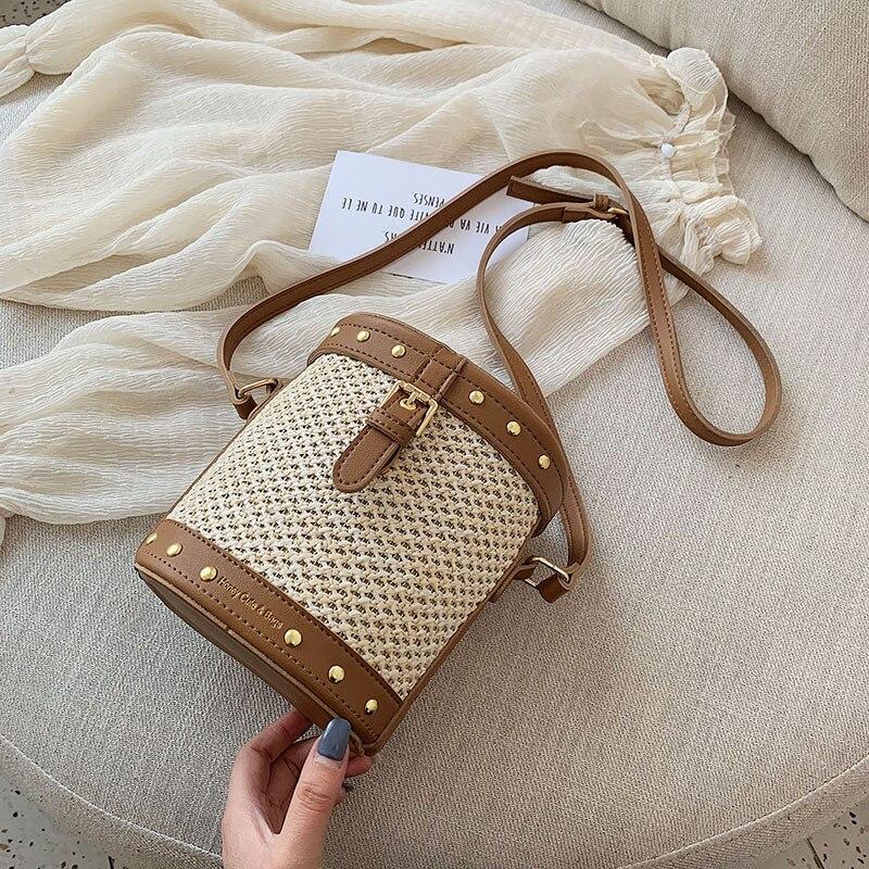 Женская сумка-ведро, летняя, из ротанга, соломенная сумка на плечо, 2019