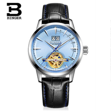 купить Binger top brand luxury men watch leather tourbillon automatic mechanical watches mens reojes de hombre fashion clock full steel по цене 5930.85 рублей