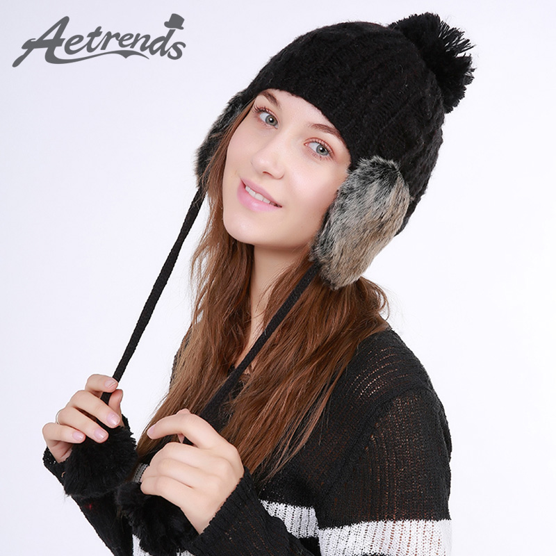 [AETRENDS] 2017 Winter Beanie Hats for Women Warm Knitted Female Caps Beanies Pompom with Top Ball Z-5985 2016 new beautiful colorful ball warm winter beanies women caps casual sweet knitted hats for women outdoor travel free shipping