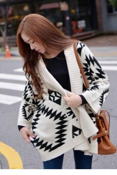 1258054fc5da White Black Fashion Warm knitted women s sweater Oversized Tribal Aztec  Print Open Wrap Front Cardigans Jacket coat LC27539