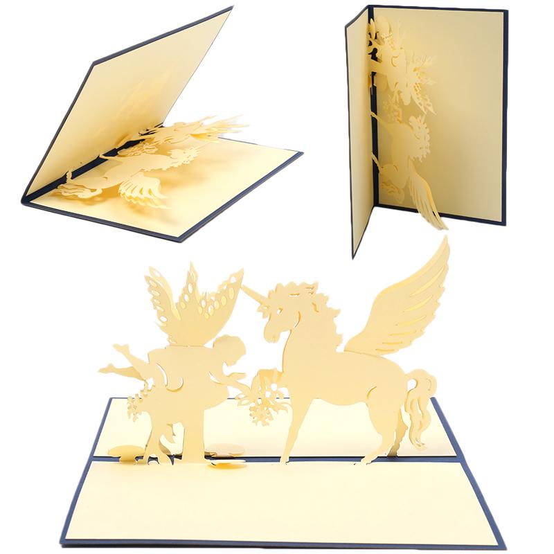 DIY Papier 3D Grußkarten Folding Einladungskarte Weihnachten  Geburtstagsgeschenk Navidad Party Dekoration Hochzeit Dekoration(China)