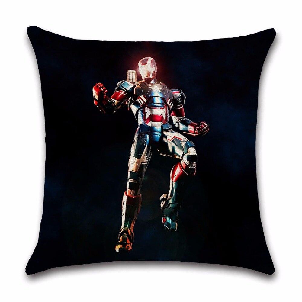 Comic Super Hero Iron Man Movie cartoon cushion cover Pillow case Chair home sofa decoration for kids bedroom boys birthday gift