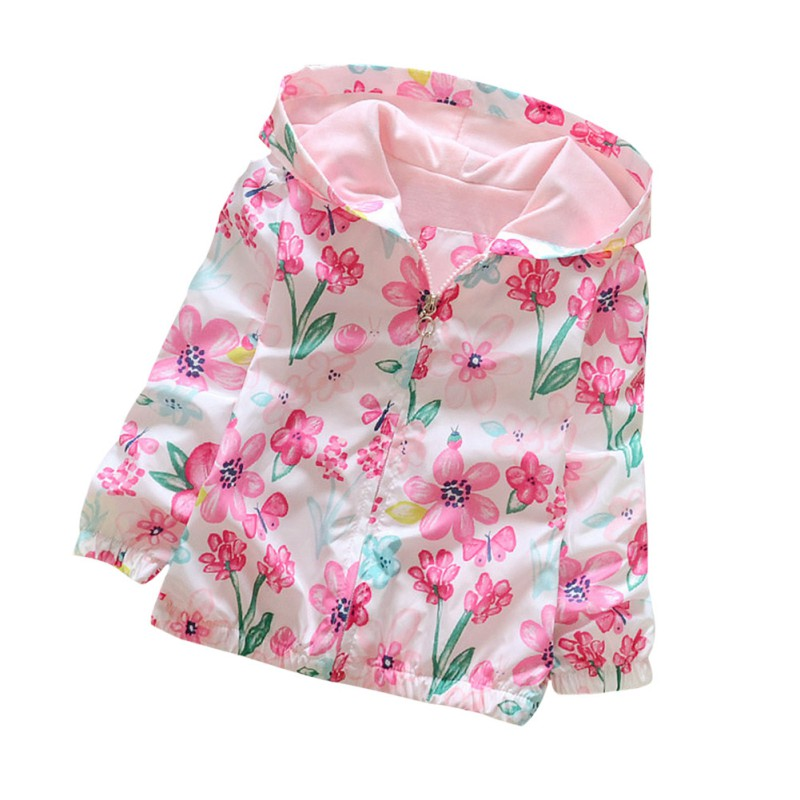 Autumn Long Sleeve Windbreaker Baby Girls Hoodie Coats Kids Girls Flowers Printing Camouflage Hooded Jackets 2-7 Years