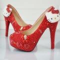 Новый Дизайн Ручной Работы Красный Свадебные Туфли Hello Kitty Украшения Горный Хрусталь Платье Невесты Обувь Красный Жемчуг Пром Насосы Плюс Размер