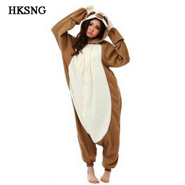 2a24b3925d6d HKSNG Adult Animal Brown Sloth Kigurumi Onesies Pajamas Cartoon Soft Fleece  Onesies Cosplay Costumes Jumpsuits Best Gift