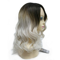 StrongBeauty Women S Wig Ombre Silver Gray Dark Root Long Curly Hairstyle With Bang Synthetic Full
