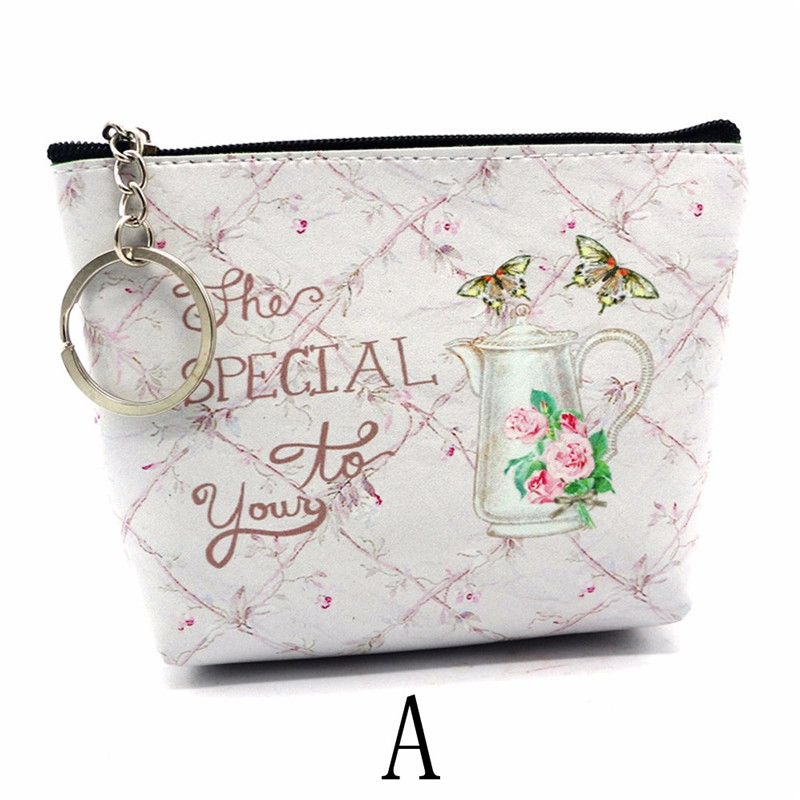 2018 Korean Style New Mini Cartoon Printing Coin Purse Cute Fresh Leather Letter Pattern Students Coin Money Pouches Bag 1 design laser cut white elegant pattern west cowboy style vintage wedding invitations card kit blank paper printing invitation