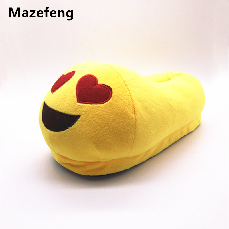 Indoor Warm Men&Women Emoji Slippers Winter Cotton Plush Slipper Emoji Shoes Smiley Emoticon Winter Soft Cartoon Slipper Unisex cry emoji cartoon flock flat plush winter indoor slippers women adult unisex furry fluffy rihanna warm home slipper shoes house