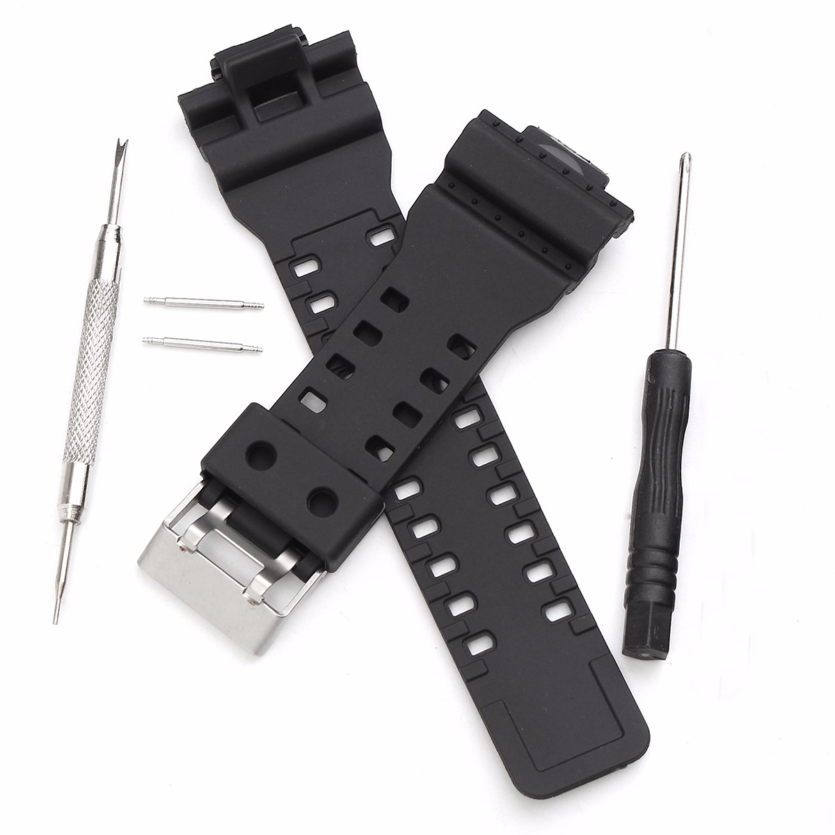 16mm Black Watch Bands Silicone Rubber Replacement Watch Straps Set With Stainless Steel Buckle 2pcs pins Tools isunzun watch bands for tissot 1853 t045 407a t045 harbor series steel strip brand watch straps stainless steel watch chain