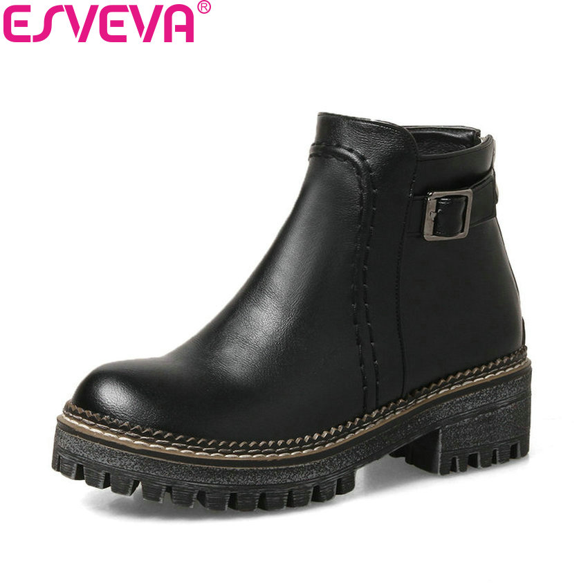 ESVEVA 2018 Classical Women Boots Square High Heel Synthetic Round Toe Ankle Boots Western Style Platform Lady Shoes Size 34-43 esveva 2016 metal color punk autumn shoes women square high heel ankle boots round toe ladies platform fashion boots size 34 43