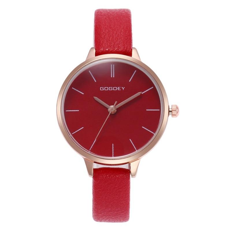 2020 Montre Femme de luxe marque rose cadran dame fille montres robe élégante rouge Ultra mince bracelet en cuir Montre-bracelet Quartz horloge