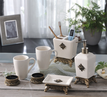 100% Ceramic 5PCS Bathroom Accessories Creative Cup Toothbrush Holder Soap Dish Dispenser Shampoo Press Bottle LFB281