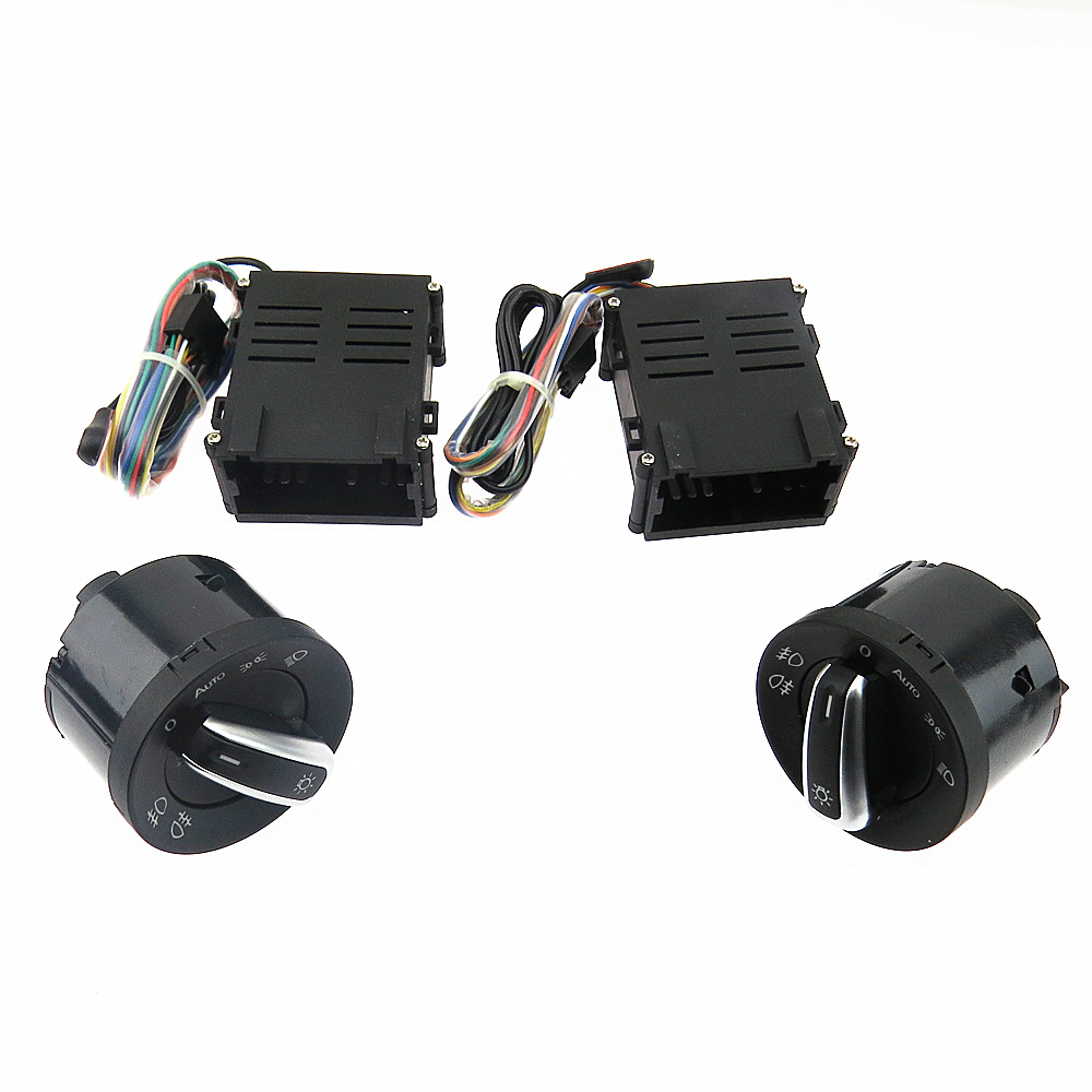 SCJYRXS Chrome Headlight Switch Auto Sensor Light For Passat B5 New Bora Polo Golf MK4 Santana