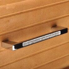 96mm 128mm modern fashion furniture door handles glass diamond kitchen cabinet dresser door handles silver crystal drawer pulls