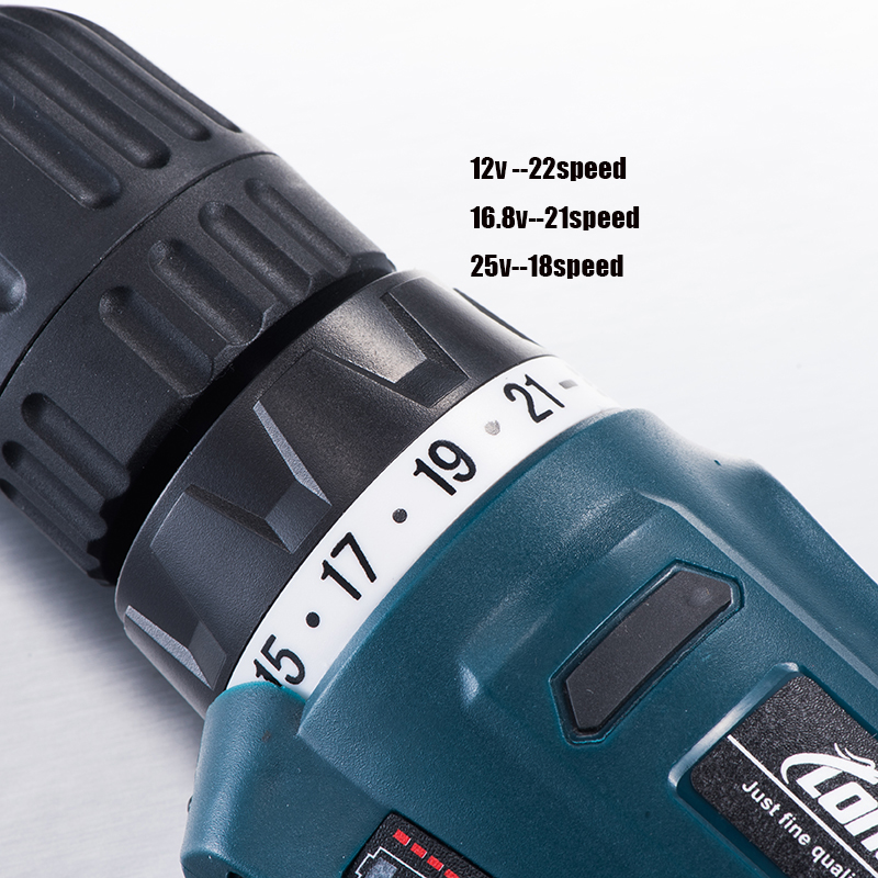 12V 16.8V 25V Adjust Speed Home Cordless Drill Bit Electric Screwdriver Extra Battery Wrench With Plastic Box Power Tool