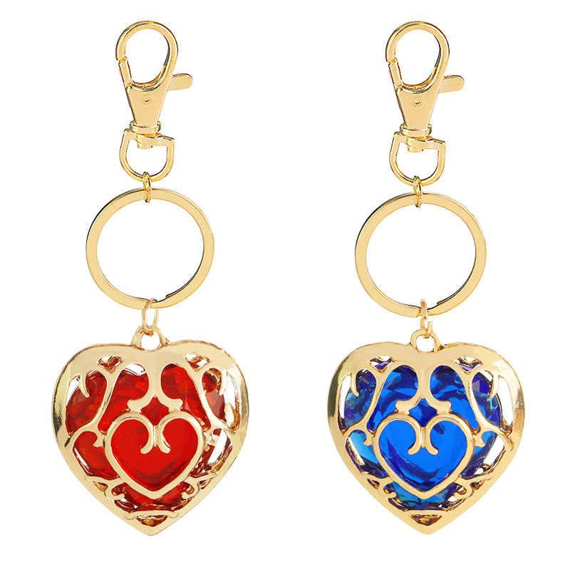 2019 novo popular gemas pedra oco coração chaveiro lenda de zelda recorte amor cristal azul vermelho chaveiro para mulher saco quente