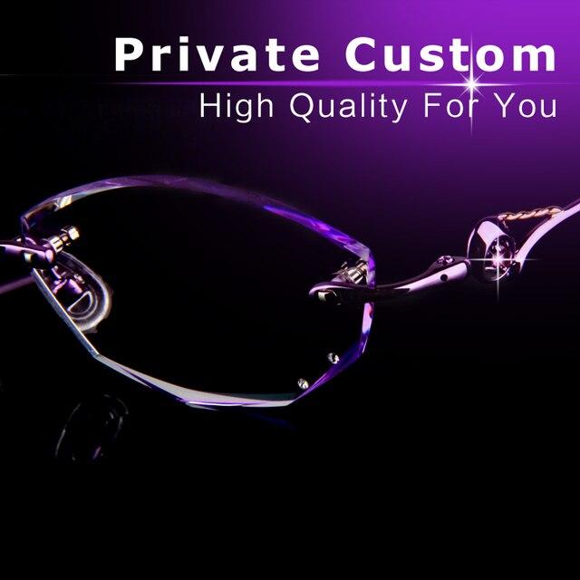 Luxury eyeglasses women optical glasses Diamond cut lens clear fashion Rimless Frame Anti fatigue UV Reflection glasses 717-2