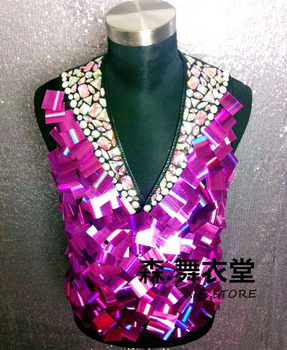 New arrival! Nightclubs Male Singer Mirror Suit Vest Costumes Personality Stage show vest performance costumes vest