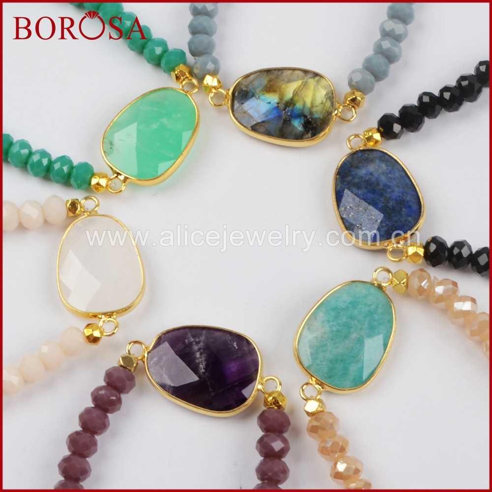 BOROSA 1 ชิ้นแฟชั่นสี Labradorite สีขาว Lapis Lazuli คริสตัล Faceted สร้อยข้อมือ 6 มม.ลูกปัดแก้วคริสตัล G1406