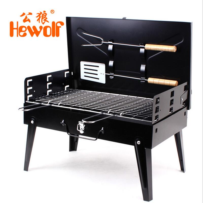 Hewolf Charcoal Burn Oven Portable Folding Barbecue Grill Box Barbecue Grill For Outdoor Household BBQ Grills Thickening 3 5 people outdoor picnic thick stainless steel barbecue grill portable folding grill barbecue tools