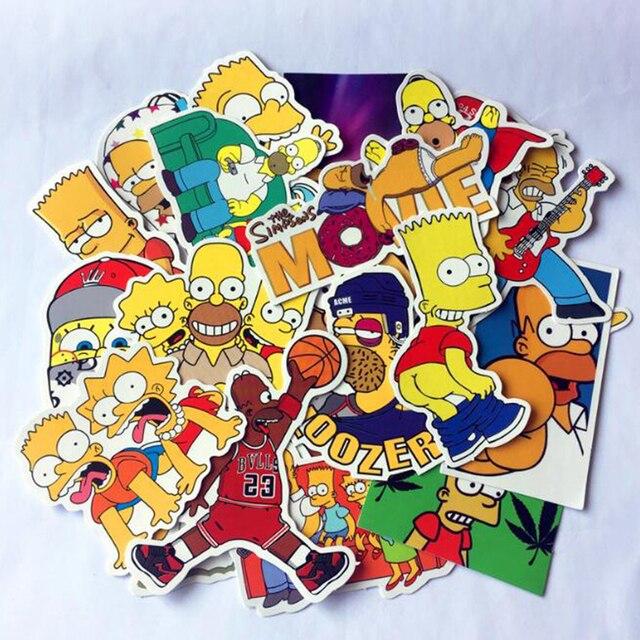 3e34d21a1419f US $1.99 |25PCS Cartoon anime Vinyl stickers Simpsons Street tide graffiti  sticker Decals Car styling car sticker-in Car Stickers from Automobiles &  ...