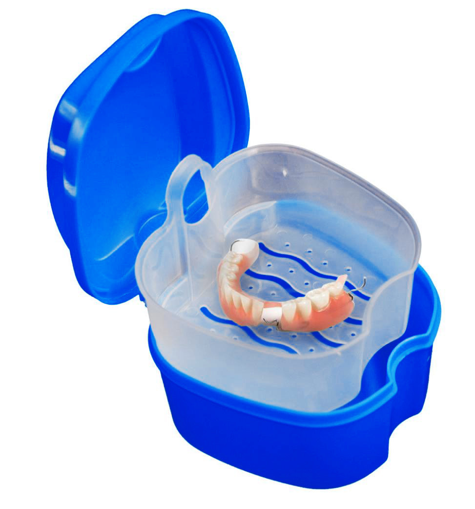Denture bath box case False Teeth Storage Box with Hanging Net Container 3 Colors 2M0823