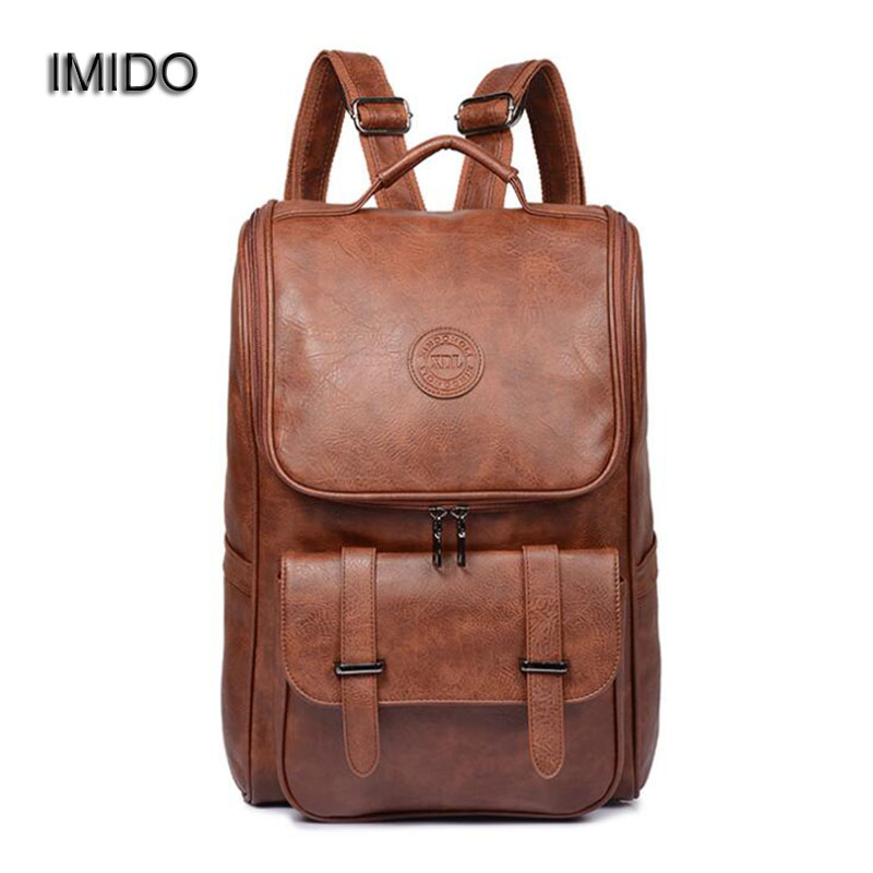 IMIDO Backpacks for Men Bag PU Black Leather Men's Shoulder Bags Fashion Male Business Casual Teenage School Bag Brown SLD088