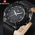 Naviforce marca dos homens do esporte de quartzo relógios pulseira de couro dos homens casuais 30 m relógios à prova d' água relógios de pulso masculino relógio preto amarelo