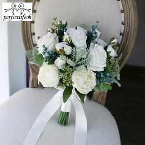 Image 4 - Perfectlifeoh 2020 חמה חתונה זר צמחים בשרניים ירוק מלאכותי זרי כלה נשים זר דה mariage