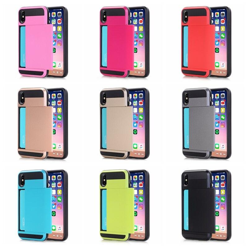 For IPhone X 10 Hybrid Tough Slide Wallet Card Storage Armor Case for IPhone 7 8 6 6s Plus XR XS MAX Cardholder Shockproof Funda slide wallet