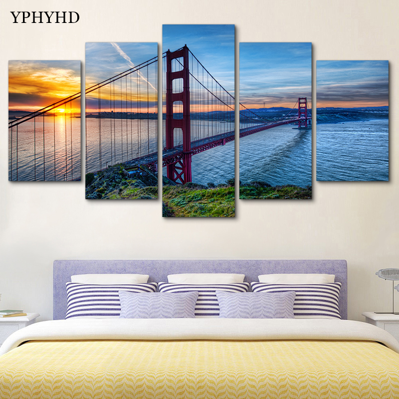 YPHYHD 5 Piece Golden Gate Bridge Art Print Poster Picture Frames Abstract Painting Modular Painting on the Wall Art Home Decor no frame canvas