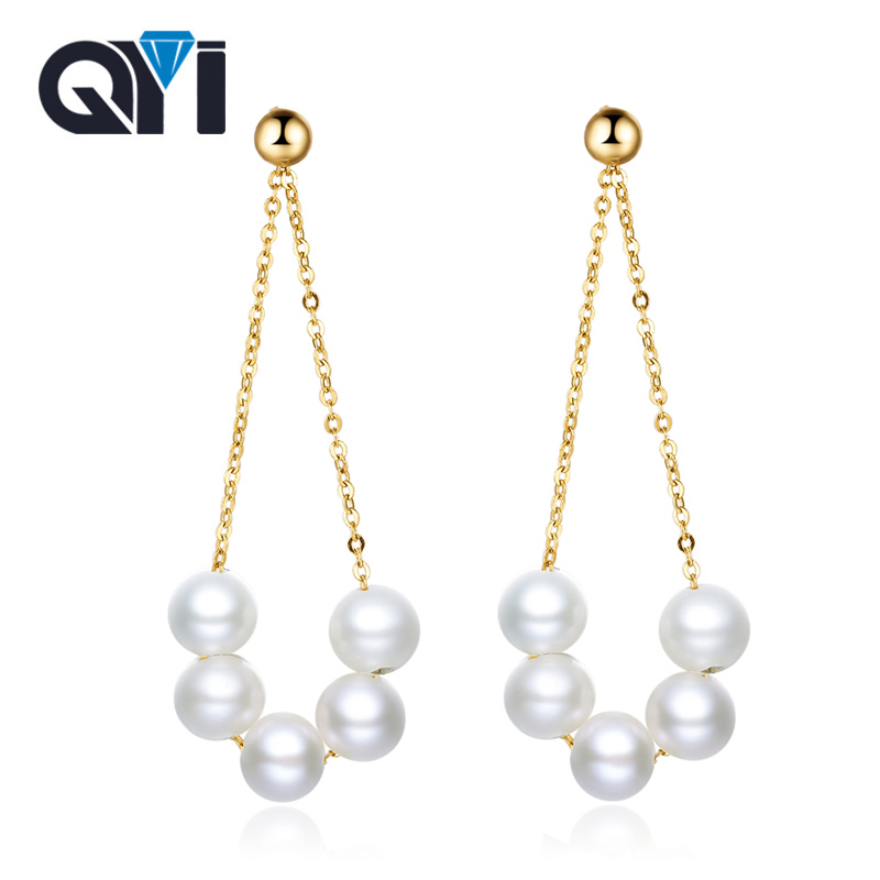QYI Earring For Women Au750 18k Gold Dangle Drop Earring With 4-5 mm Natural Round High Luster Pearls Long Chain Tassel Design yoursfs dangle earrings with long chain austria crystal jewelry gift 18k rose gold plated