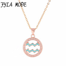 Fyla Mode Zodiac Aquarius Pendant Necklace Simple Design Jewelry Gift Micro Pave Zircon Gold/Silver Color Necklace For Women