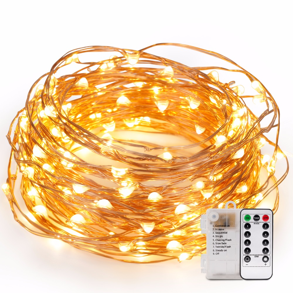 Kohree 5pcs 40ft Christmas LED String Lights Battery Operated Fairy Light with Remote Control for Outdoor Garden Church Decor