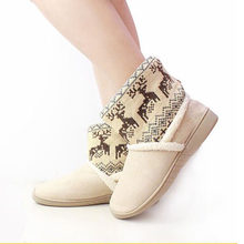 Deer Print Winter Snow Booties Women Thicken Warm Elk Women Couple Ankle Boots Plush Boots Fur Lined Home Indoor Short Shoes(China)