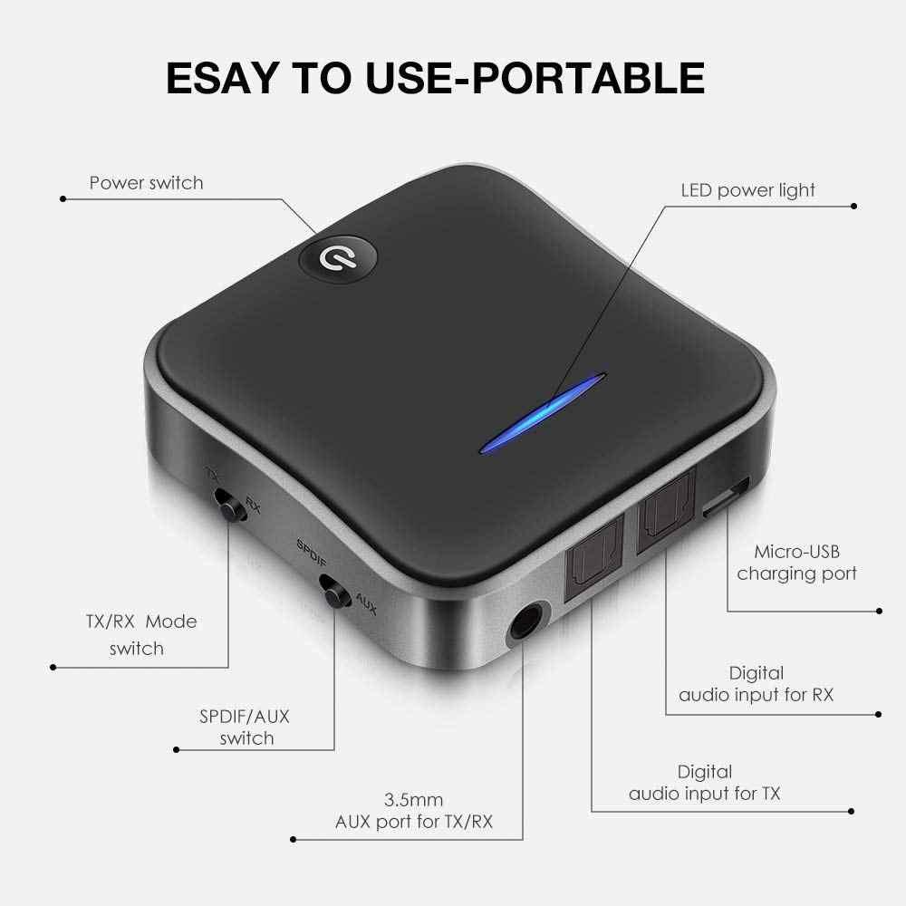 Bluetooth Trasmettitore Ricevitore 5.0 Adattatore Wireless CSR8675 Aptx HD Adattatore Ottico Toslink/3.5 millimetri AUX/SPDIF Per Auto TV Altoparlante