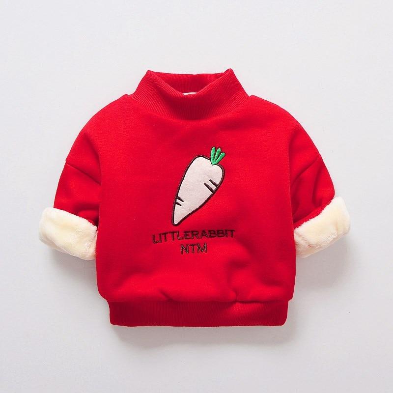 BibiCola autumn winter baby boy girl sweatshirts long-sleeve warm t shirt childrens casual cartoon thick tops outerwear clothes