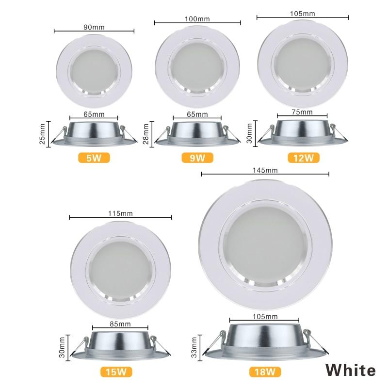 LED Downlight 5W 9W 12W 15W 18W Recessed Round LED Ceiling Lamp AC 220V 230V 240V Indoor Lighting Warm White Cold White 2