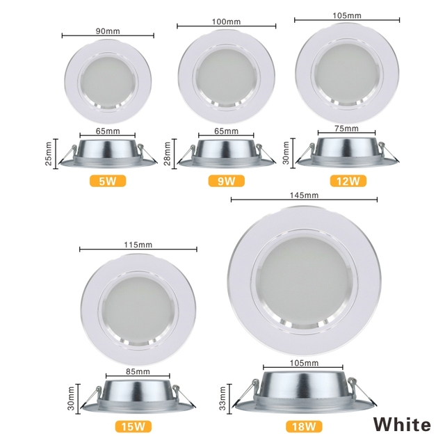 LED Downlight 5W 9W 12W 15W 18W Recessed Round LED Ceiling Lamp AC 220V 230V 240V Indoor Lighting Warm White Cold White Home Decor & Toys