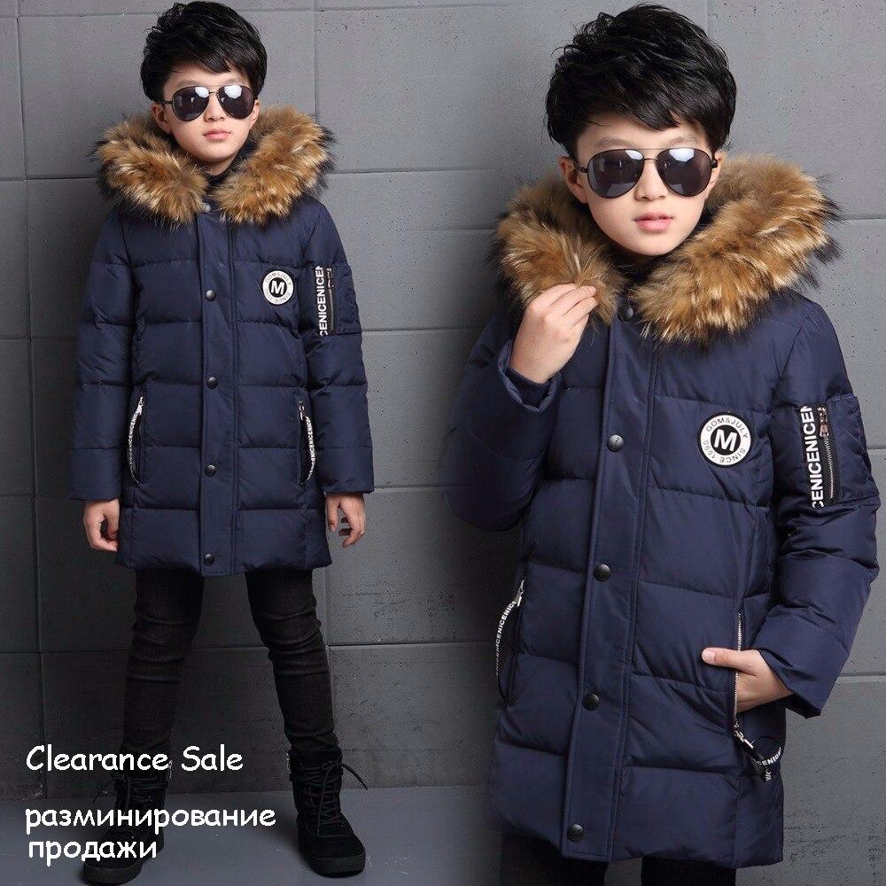 Vestes d'hiver pour garçons fourrure à capuche blanc canard vers le bas vestes épais chaud survêtement avec capuche Long manteau pour enfants