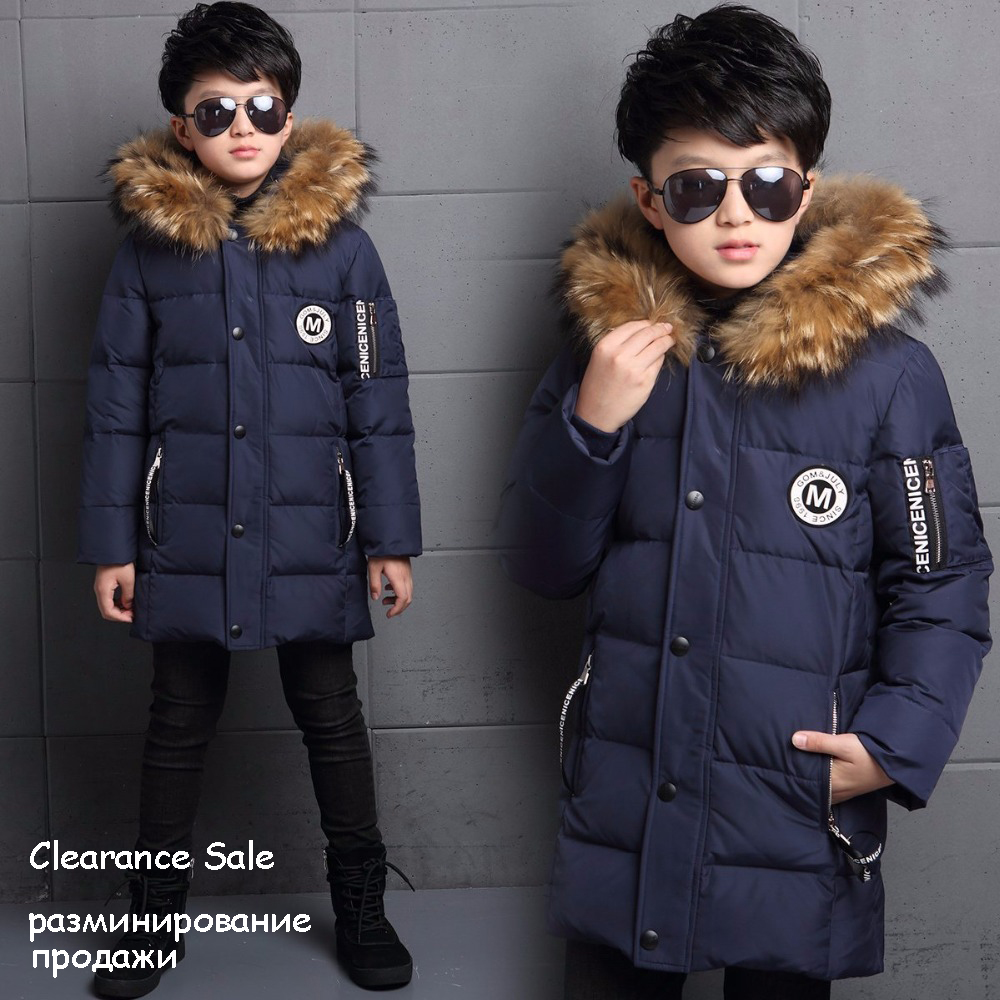 Winter Jackets for Boys 6 8 10 12 years Fur Hooded White Duck Down Coats Thicken Warm Outerwear Parkas Children's Coat
