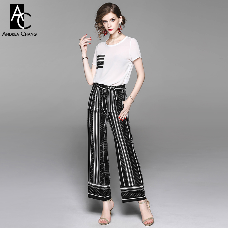 spring summer woman clothing set black strip dot pattern chest pocket white t-shirt + elastic waist loose pants casual suit set