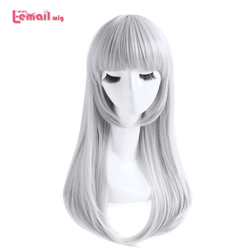 L-email Wig K Kushina Anna Cosplay Wigs Grey Sliver Long Straight Cosplay Wig Heat Resistant Synthetic Hair Halloween